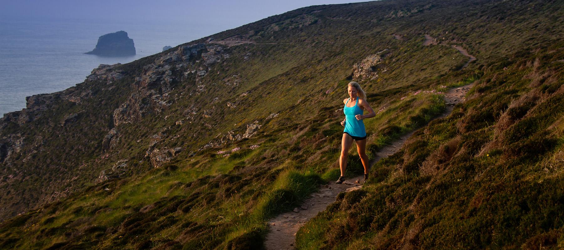 Helen Clare Yoga Teacher running in Cornwall